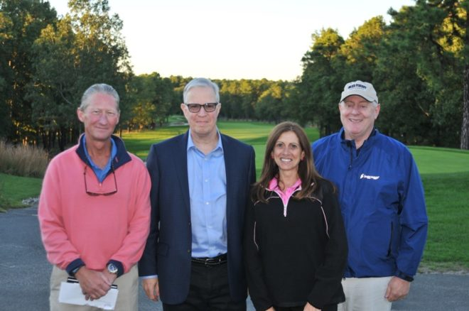 Another perfect Columbus Day for the Komen NJ Golf for the Cure! Pictured from left: Doug Blackwell, event co-chair; Steve Tripp, Komen CSNJ board member; Celia Moncholi, Komen CSNJ board President; Allen Karp, event co-chair.