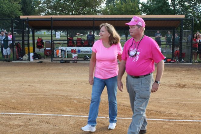 Breast Cancer Survivor, Dale, and his wife, Cathy, at the 2015 Pink Ribbon Softball Tournament.